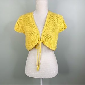 Cato Sweater Shrug Mustard Yellow Large Crochet SS